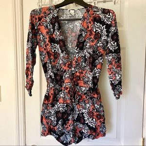 H&M Floral Elastic Waistband Romper - Size 2